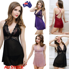 Women Sexy Lace Dress Babydoll Lingerie Nightwear Sleepwear G-string Underwear