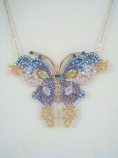 Butterfly Necklace TOPAZ TURQUOISE AMETHYST Rose Gold-plated 925 STERLING SILVER