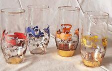 N° 4 bicchieri in cristallo con motivi di automobili antiche- anni 60 - vintage