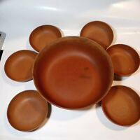 Hand Carved Wooden Salad Bowl Set 1 Large 6 Small Bowls Vintage