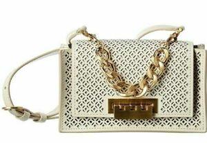 ZAC POSEN Earthette Mini Chain Top Handle Crossbody Women's Handbag Cream White