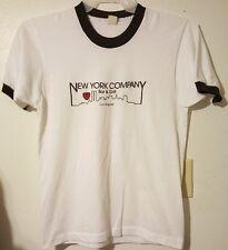 Vtg NEW YORK COMPANY PRE-OWNED Bar & Grill Size Large White/Black Ringer T-Shirt