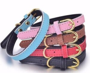 100% Genuine Leather Dog Pet Collar Soft Padded Comfortable Adjustable Quality
