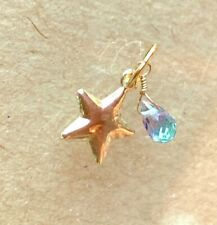 gold star charm very rare moonstone gemstone briolette 14k yellow gold puffy