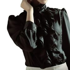 763c3a77982d6 Womens Silky Top Size 16 satin Blouse Black Ruffle Front Boho Button shirt