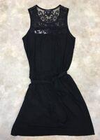 Banana Republic Women's Black Lace Floral Neck-Line Knee-Length Dress Sz XS