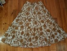 Tan floral skirt sz S Sm tiered long modest length full flared hippie boho lined