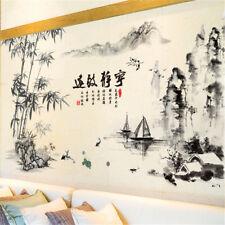 Noir couleur bambou montagne rivières bateaux Wall Stickers style chinois