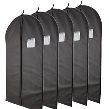 5 Pcs 40-inch Garment Bag for Suit Dress Storage Black with Transparent Window