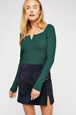Free People Valencia After Party Ribbed Long Sleeve Top. Green. XS