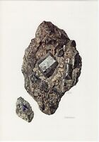 1967 Vintage Print: CORDIERITE Mineral Stone Geology Decor Natural History Gift