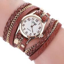 Vintage Women Stainless Steel Leather Bracelet Ladies Girl Quartz Wrist Watches
