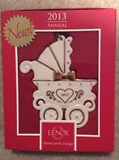 FREE S&H Lenox 2013 Baby's First Carriage Ornament New In Box
