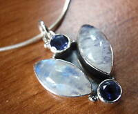 Moonstone Faceted Iolite 925 Sterling Silver Pendant