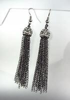 CHIC Artisanal Antique Metal Marcasite Crystals Tassel Dangle Earrings
