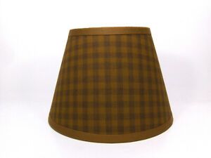 Country Primitive Mustard Medium Check Homespun Fabric Lampshade Lamp Shade