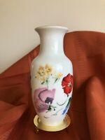 Bright Flowered Takahashi Hand Decorated Porcelain Bud Vase  Japan
