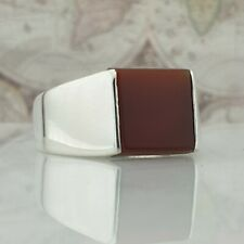 925 Sterling Silver Mens Ring Red Agate Gemstone HandMade Turkish Style