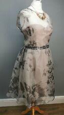 LITTLE MISTRESS Ladies SIZE 18 grey blush print embellished babydoll dress (S201