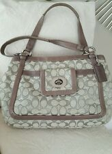 COACH LG Grey SIGNATURE PEARLIZED LEATHER TRIM TOTE BAG PURSE SATCHEL RARE!
