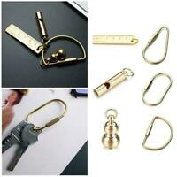 DIY Craft Tools Brass Keychain Portable Key Ring Ruler Buckle Whistle Gourd V3U9