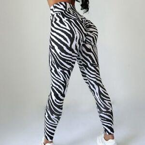 High Waist Zebra Seamless Leggings Women Push Up Yoga Pants Fitness Sportswear