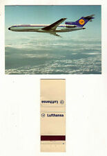 Lufthansa Airline - 1970's match cover & Postcard combo - Germany - Boeing 727