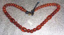 fine old honey amber plastic bead necklace