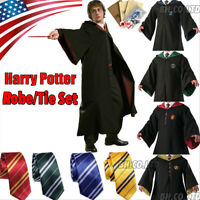 US Harry Potter Costume Hogwarts Adult Child Robe Cape Halloween Party Cosplay