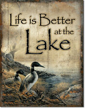 Life Is Better At The Lake Tin Metal Sign 13 x 16in