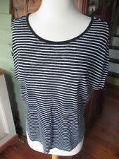 S joan vass knit linen heather black white striped scoop neck curved hem top
