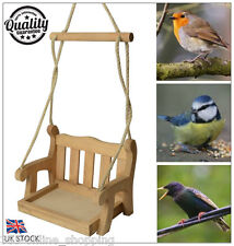 Hanging Swinging Wooden Garden Swing Seat Bird Feeder Garden Ornament Bird Table