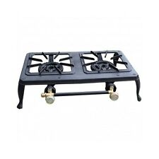 Dual Burner Propane Camping Stove 2 Cast Iron Outdoor Portable Camp Cook Fishing