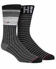 Tommy Hilfiger Men Dress Socks Gray Black One Size 2 Pack Houndstooth Stripe 457