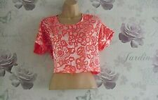 """""""RIVER ISLAND """" REALLY PRETTY SHORT SLEEVE PINK SUMMER CROPPED TOP SIZE 8"""