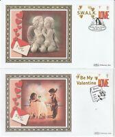 15 JAN 2008 VALENTINES BOTH BENHAM SMALL SILK FIRST DAY COVERS