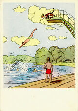 1963 Russian postcard BOY JUMPS INTO WATER by A.Kanevsky Verse by K.Chukovsky
