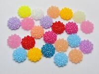 100 Mixed Color Flatback Resin Floral Round Cabochons 10mm Embellishments