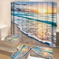 Bathroom Shower Curtain+Non-slip Bath Mat Pedestal Toilet Seat Cover Lid Rug Pad