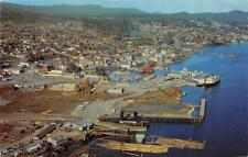 NANAIMO, BC Canada  AERIAL CITY VIEW Waterfront~Boats~Docks 1961 Chrome Postcard