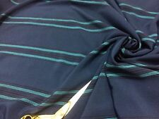 *NEW*100% Crinkle Polyester Dark Teal /Blue Stripe /Dress/Crafts Fabric*FREE P&P