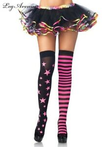 New Party  Stars & Stripes Thigh High Stockings Neon Pink or Yellow Costume
