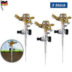 3x Rasensprenger Metall Impulsregner Kreisregner Rasen Garten Sprenger Sprinkler