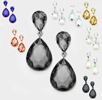 Small Crystal Rhinestone Teardrop Bridal Wedding Post Pierced Long Prom Earrings