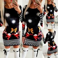 Women Christmas Evening Party Bodycon Jumper Dress Long Sleeve Santa Mini Dress