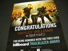 HAYLEY WILLIAMS Paramore TRAILBLAZER AWARD 2014 Promo Poster Ad mint condition