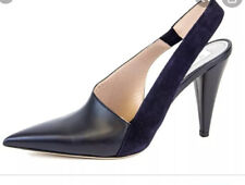 $525 MAX MARA Cresta Leather Sling back pumps pointed toe black and navy size 9