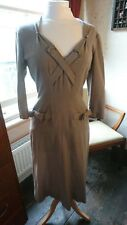 Lovely Original Vintage 50s/60s American Wiggle Mad Men Taupe Wool Dress 10 VGC