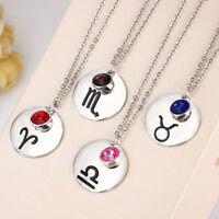 12 Constellation Zodiac Sign Astrology Pendant Necklace Birthstone Charm Jewelry