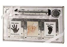 Babyset in silber inklusive Bilderrahmen, 2 Dosen, Röhre und Pad für Hand u. Fuß